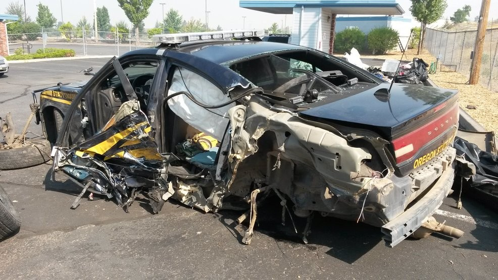 Oregon Trooper Walks Away from Near Head-On Crash
