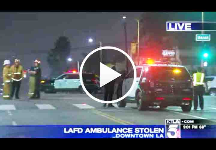 Video: Man Steals Ambulance, Leads LAPD on Chase