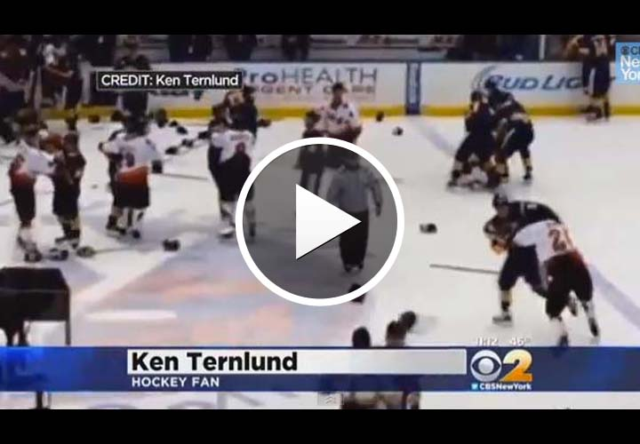 Video: NYPD and FDNY Brawl During Charity Hockey Game