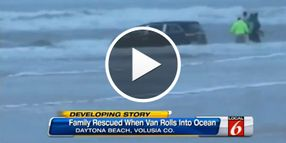 Video: Beach Officers, Bystanders Rescue Kids After Mom Drives into Daytona Surf