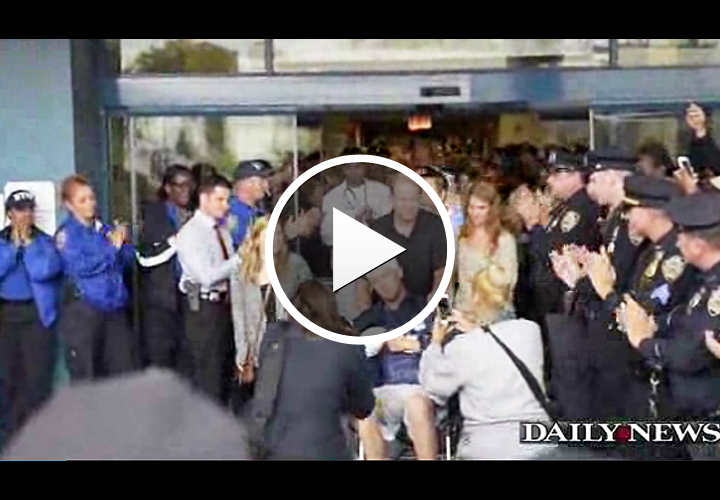 Video: NYPD Officer Wounded in Hatchet Attack Cheered by Comrades as He Leaves Hospital