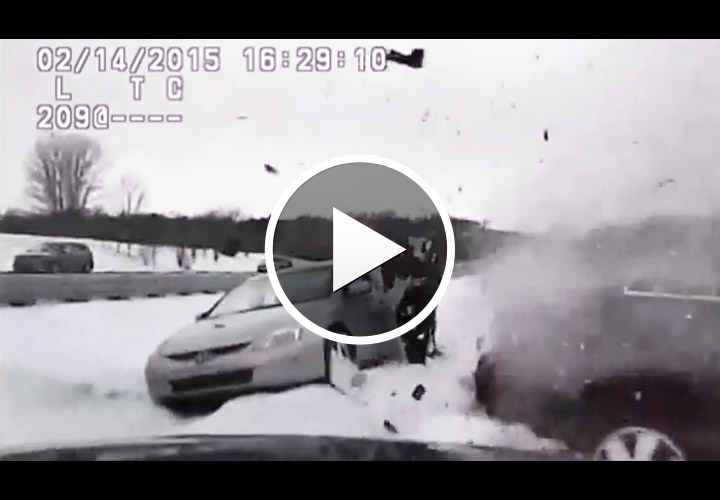 Video: Michigan Officer Injured at Traffic Stop When Car Skids on Ice