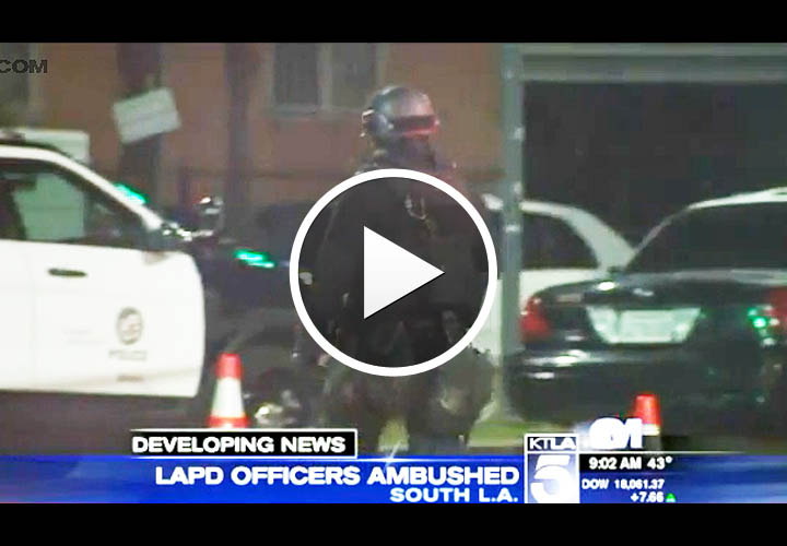 Video: 2 LAPD Police Officers Ambushed, Shot at in Unprovoked Attack