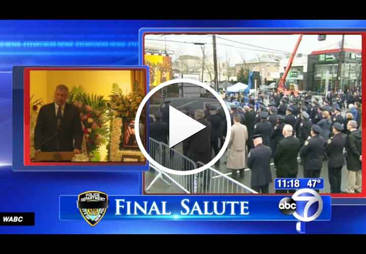 Video: NYPD Officers Salute Mayor at Fallen Officer's Wake, Turn Backs to Him at Funeral