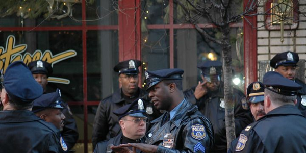 Philadelphia police officers gathering, close-up of Lt. Josey. Photo courtesy of Shari DeAngelo...