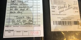 Mississippi Pizza Parlor Sends Note of Thanks to Officers, Picks Up Their Tab