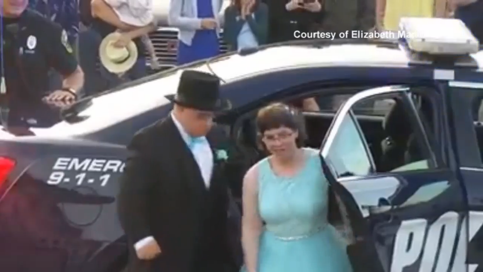 Video: Maine Police Escort Special Needs Couple to High School Prom