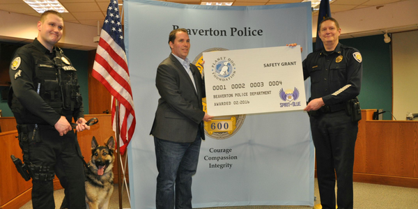 Spirit of Blue presented a $2,500 grant to the Beaverton (OR) Police Department for the...