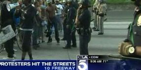 Zimmerman Protesters Block Freeway, Clash with LAPD