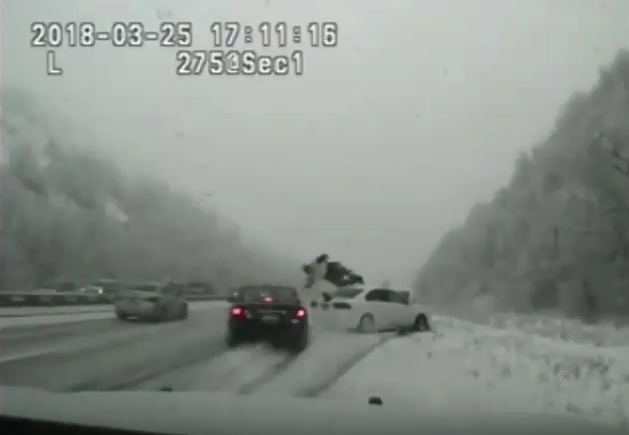 Video: Utah Trooper Hit by Skidding Car, Launched into Air