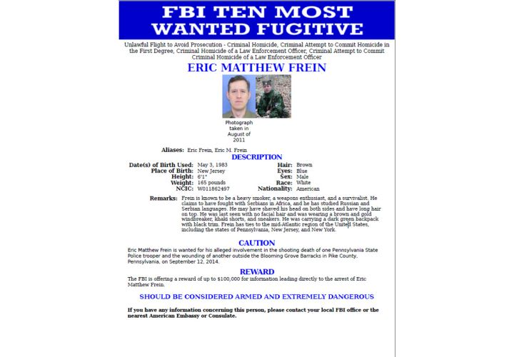 FBI Adds Pa. Trooper's Suspected Killer to Most Wanted List