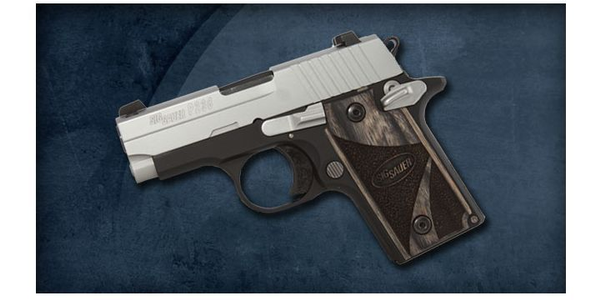 Pictured is the SIG Sauer P238 Two-tone with Blackwood Grips.