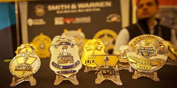 Smith & Warren is offering special Super Bowl badges to eligible officers. (Photo: Mark W. Clark)