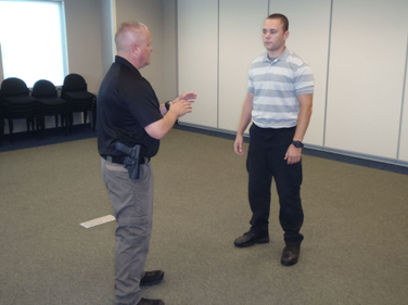 When you're facing a suspect as a lone officer, a rear leg sweep will help quickly gain control.