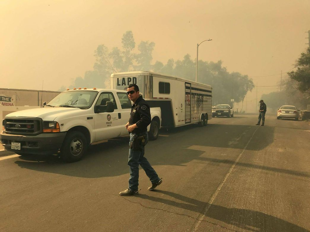 The LAPD mounted unit used its equipment to rescue horses in Sylmar. (Photo: Officer Gary...