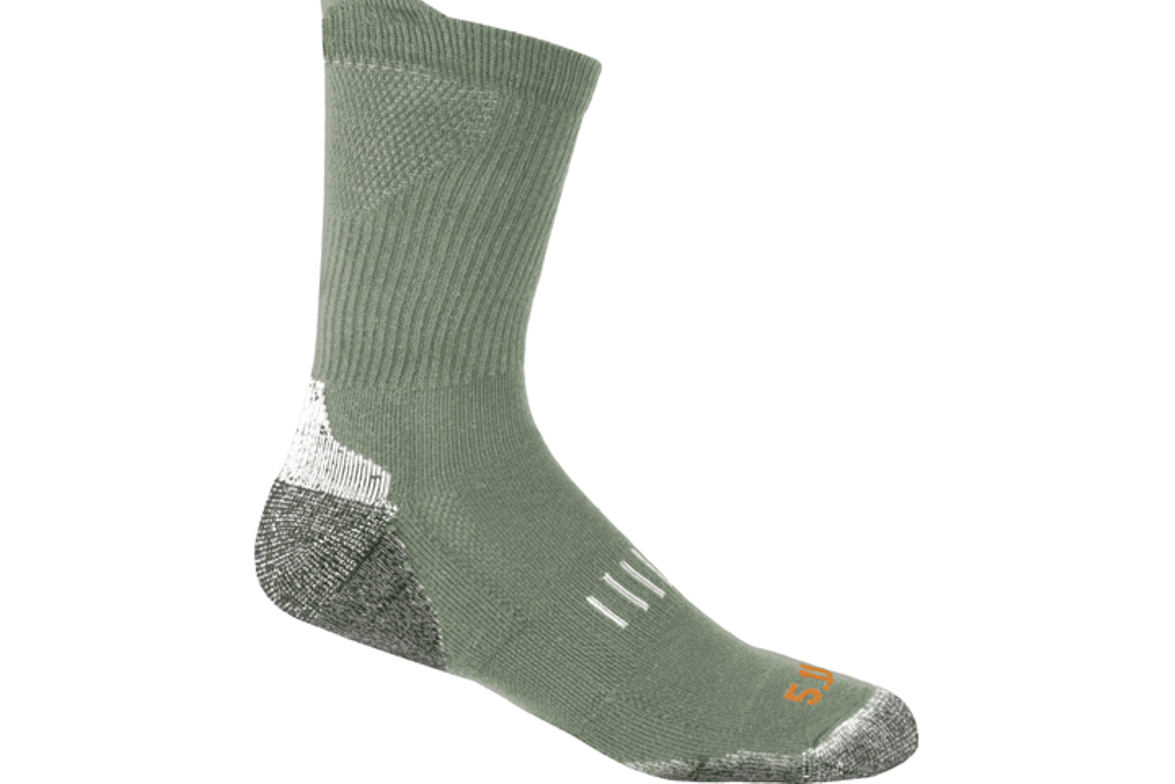 USA-made Year Round Crew Socks from 5.11 Tactical come in crew- and over-the-calf lengths and...