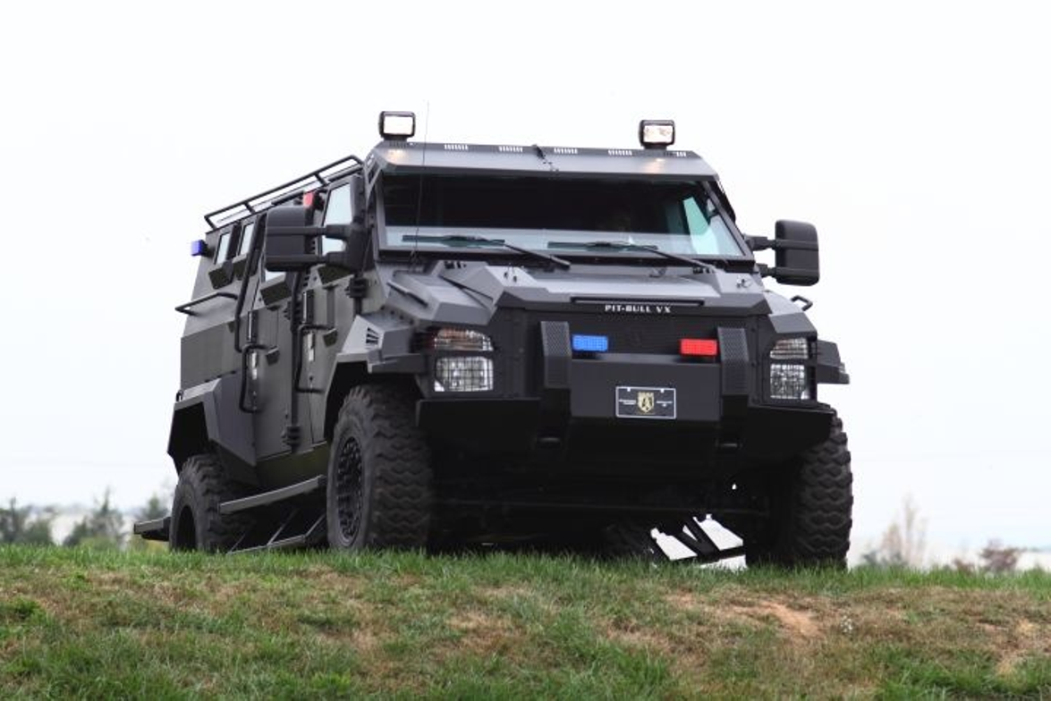 Alpine Armoring's Pit-bull VX SWAT Truck is built on a Ford F-550 chassis and offers armor...