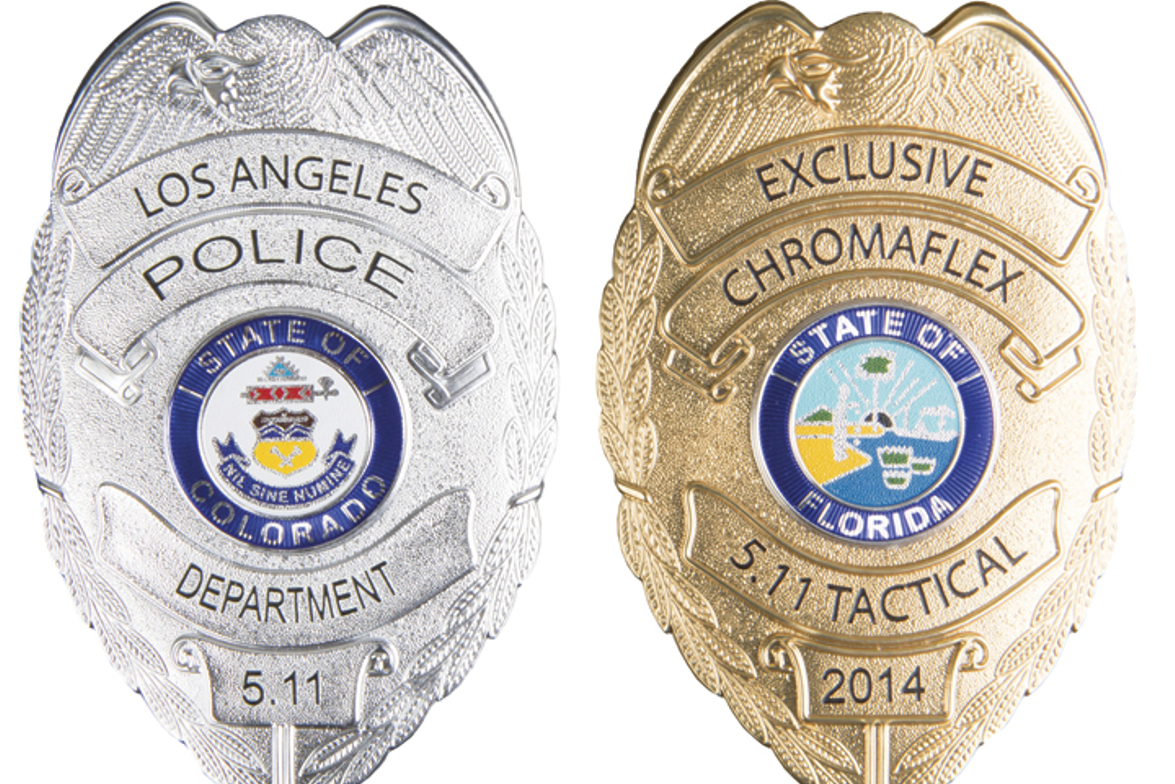 5.11 Tactical's new ChromaFlex Badges have the look of metallic badges, but they can be fused to...