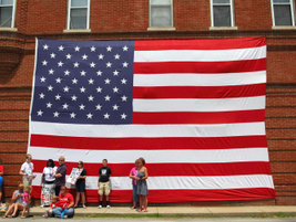 Residents displayed a large American flag