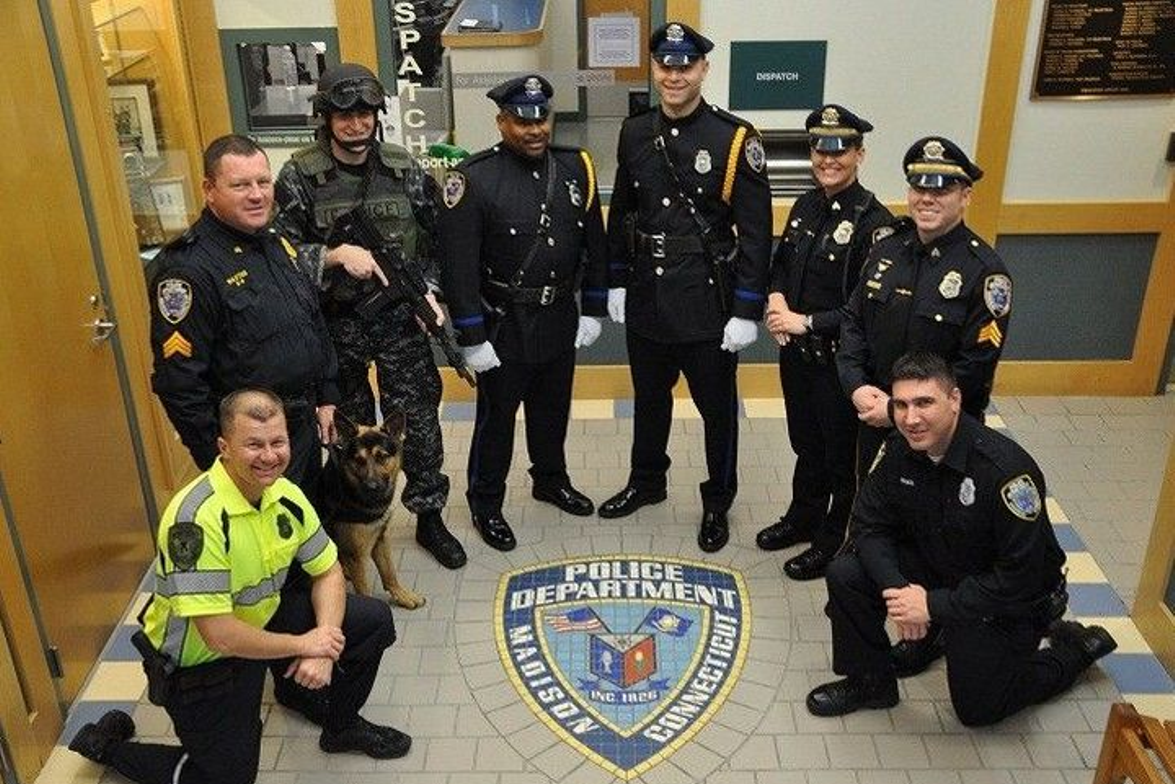 The Madison (N.Y.) Police Department, wearing Red the Uniform Tailor, won Best Dressed...