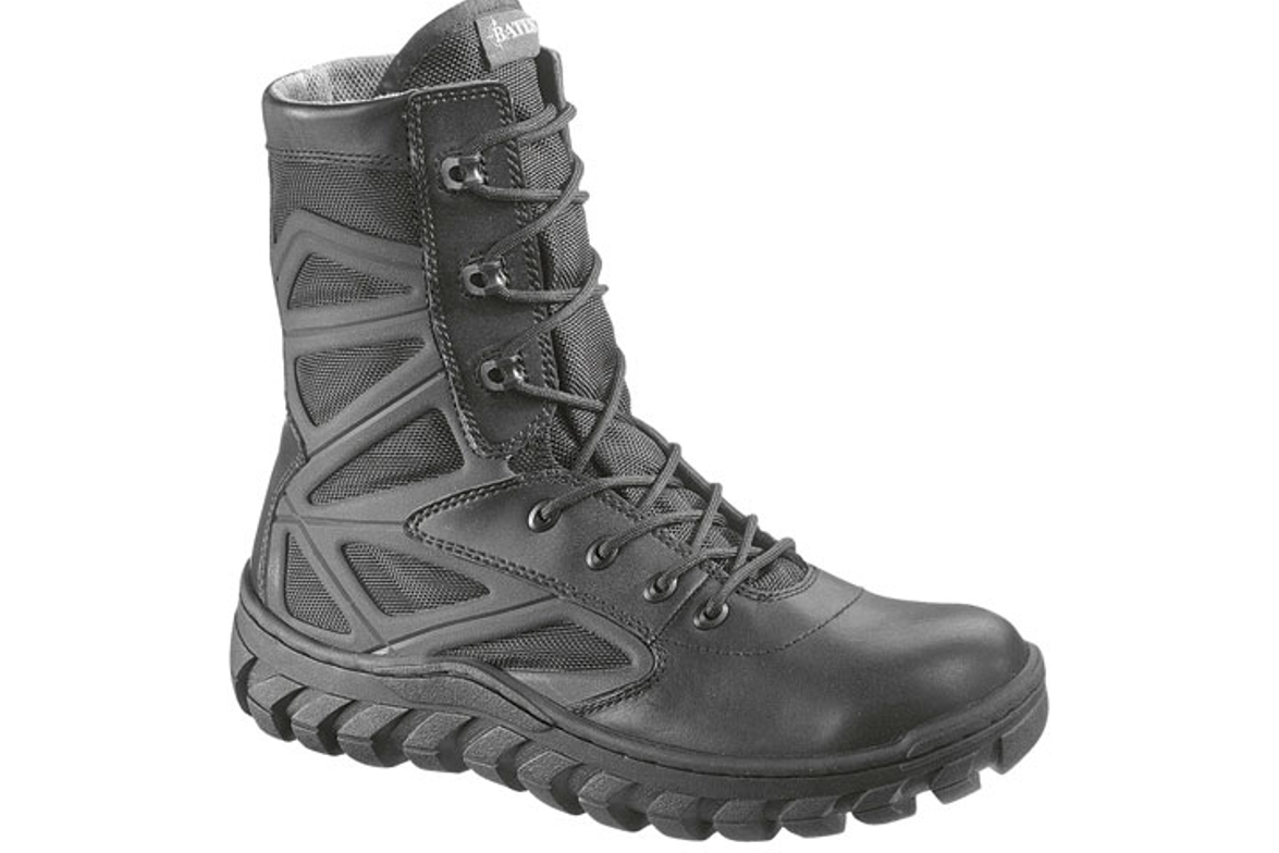 Bates' 8-inch Annobon boot will be available in Fall 2012. It features a polishable leather and...