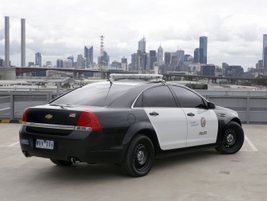 A rear three-quarter shot of the new 2011 Chevy Caprice PPV that will arrive on the streets for...