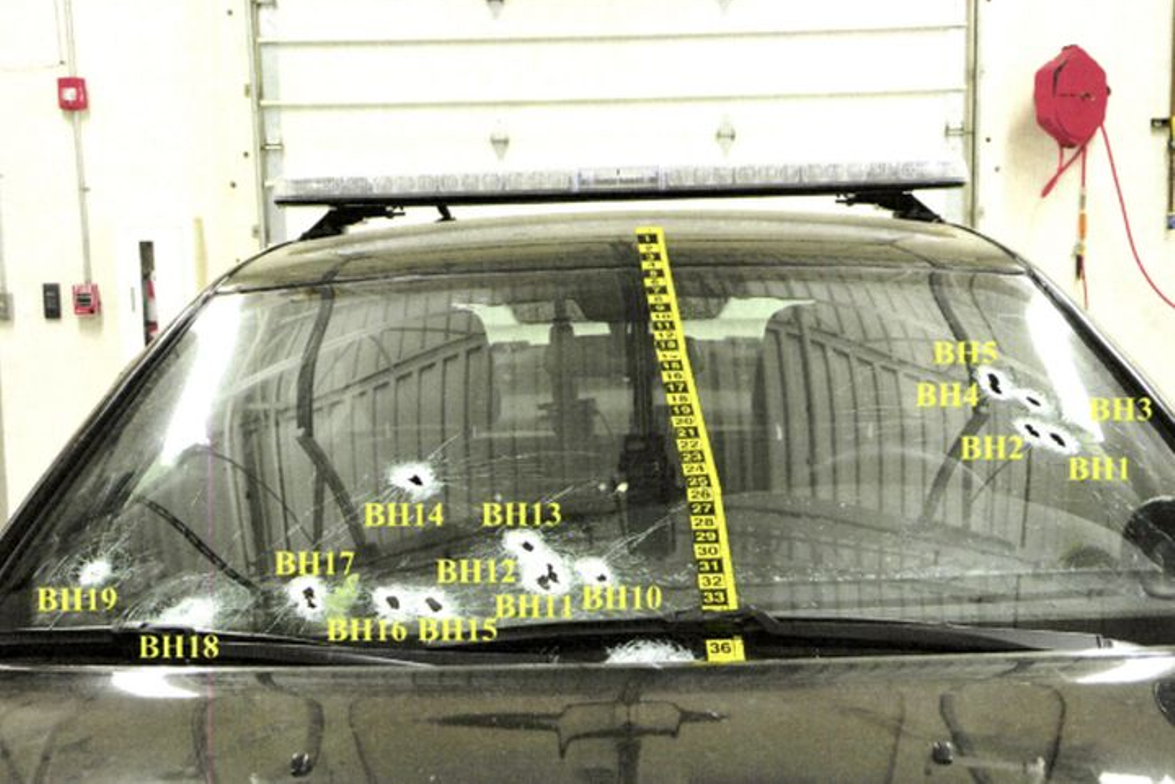 A Cleveland Police Dodge Charger was hit by 19 rounds likely from other officers at the end of a...
