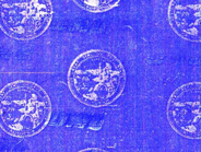 A close-up view of the hologram used by California to deter counterfeiting of its state driver's...