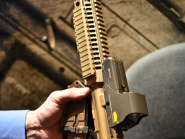 The Colt LE901-16S modular carbine that can change from 5.56mm to 7.62mm with the swapping of an...