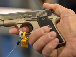 The Colt .380 Mustang Pocketlite pistol measures 5.5 inches long and has a 2.75-inch barrel. The...