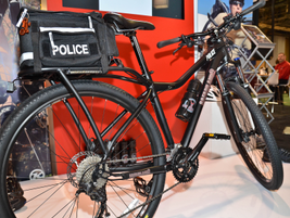 The Safariland/Kona patrol bike is a rugged, all-terrain bicycle with a 30-speed drive-train,...