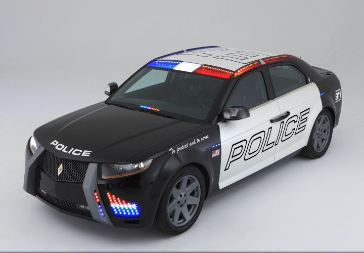 The Carbon Motors E7 prototype patrol vehicle looks something like a cross between an exotic...