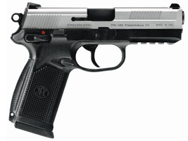 The FNX-45 is available is black polymer with a stainless steel slide.