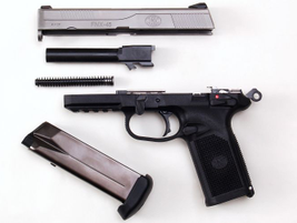 Disassembling the FNX-45 into its five basic parts is extremely easy.