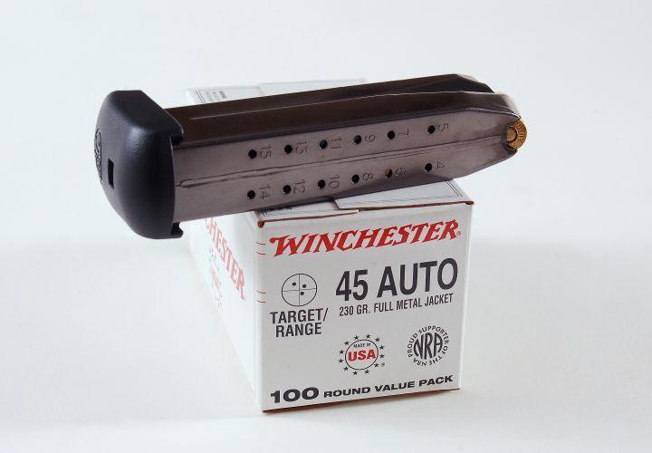 An extended magazine gives pistol operators 15+1 capacity of hard-hitting .45 ACP. Three mags...