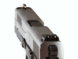 The pistol comes from the factory with a traditional three-dot sighting system.