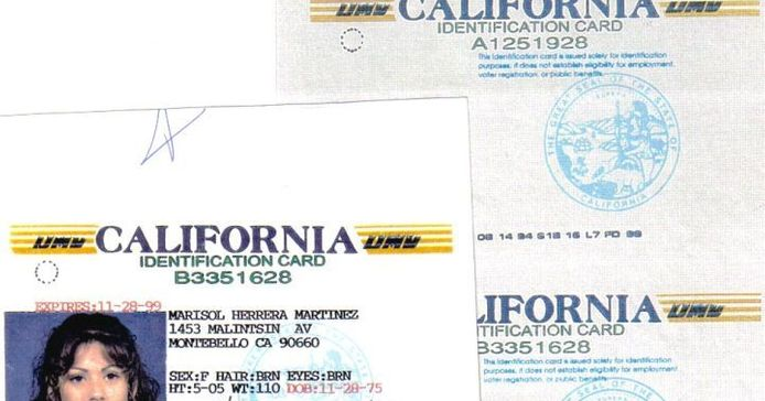 The Los Angeles County Sheriff's Department confiscated this fake California Identification Card...