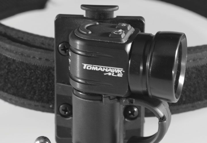 Designed for law enforcement, First-Light USA's Tomahawk LE tactical light with belt TRS clip...