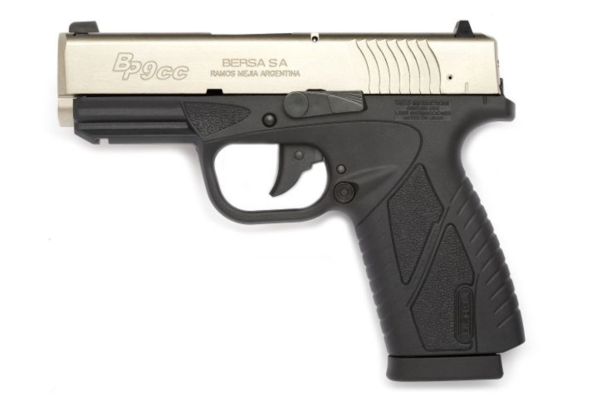 The Bersa BP 9 CC is a slim, attractive pistol. Visible here are the DAO trigger, magazine...