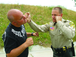 Deliver a bottom fist strike with the bottom portion of the closed fist. The fingers are rolled,...