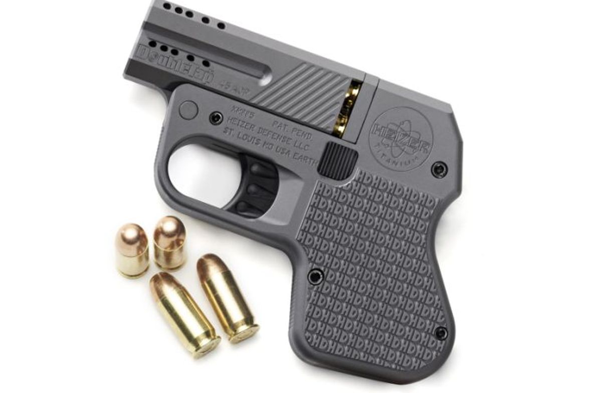 The DoubleTap carries two rounds in the chamber and the integral grips house two additional...