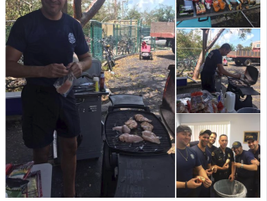 Miami FOP members cooked food for Key West first responders. (Photo: Courtesy of Javier Ortiz)