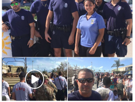 Miami officers helped with security as the National Guard handed out MREs and bottled water at a...