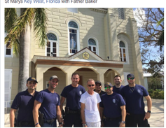 Miami officers outside St. Mary church in Key West with Father Baker. (Photo: Courtesy of Javier...