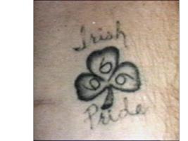 "The Aryan Brotherhood's common tattoos often feature shamrocks, references to ""Irish Pride"" or..."