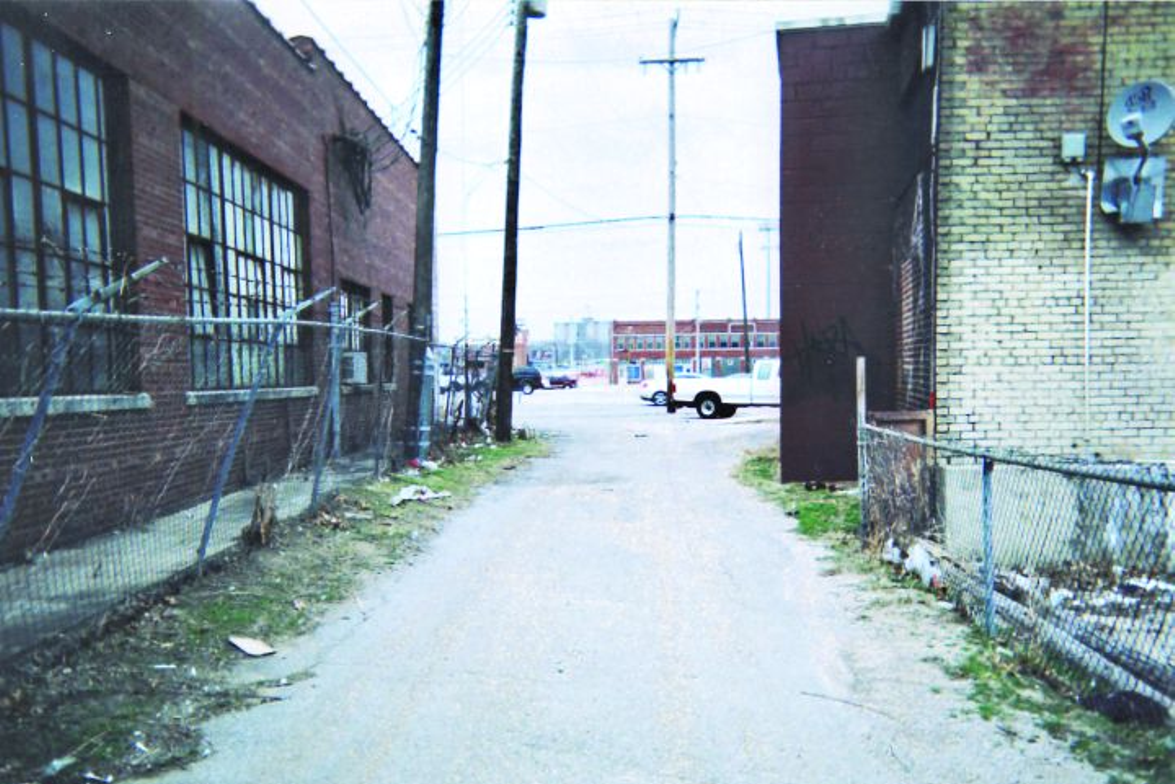 This is a view looking north up the alley where the firefight took place. Steven Williams, a...