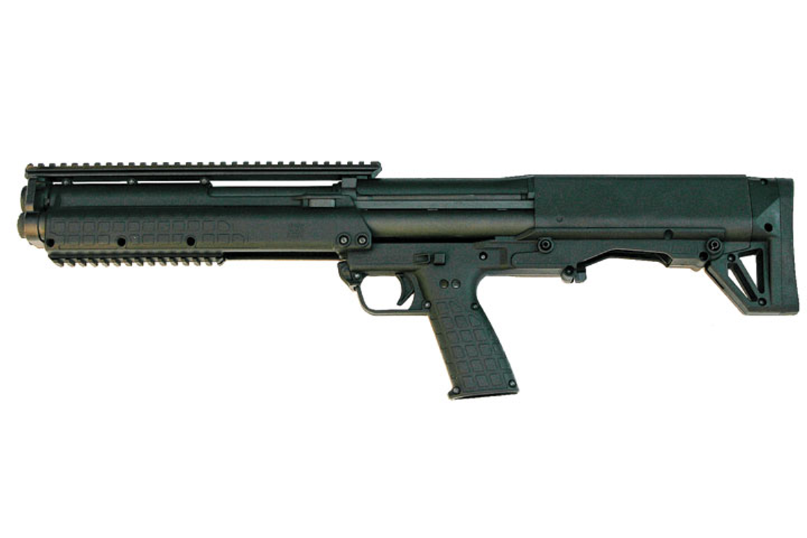 Kel-Tec's KSG is only 26 inches but offers much more firepower than conventional pump guns.