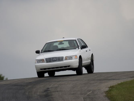 Michigan State Police drivers test the patrol cars over two days in September at the Chrysler...