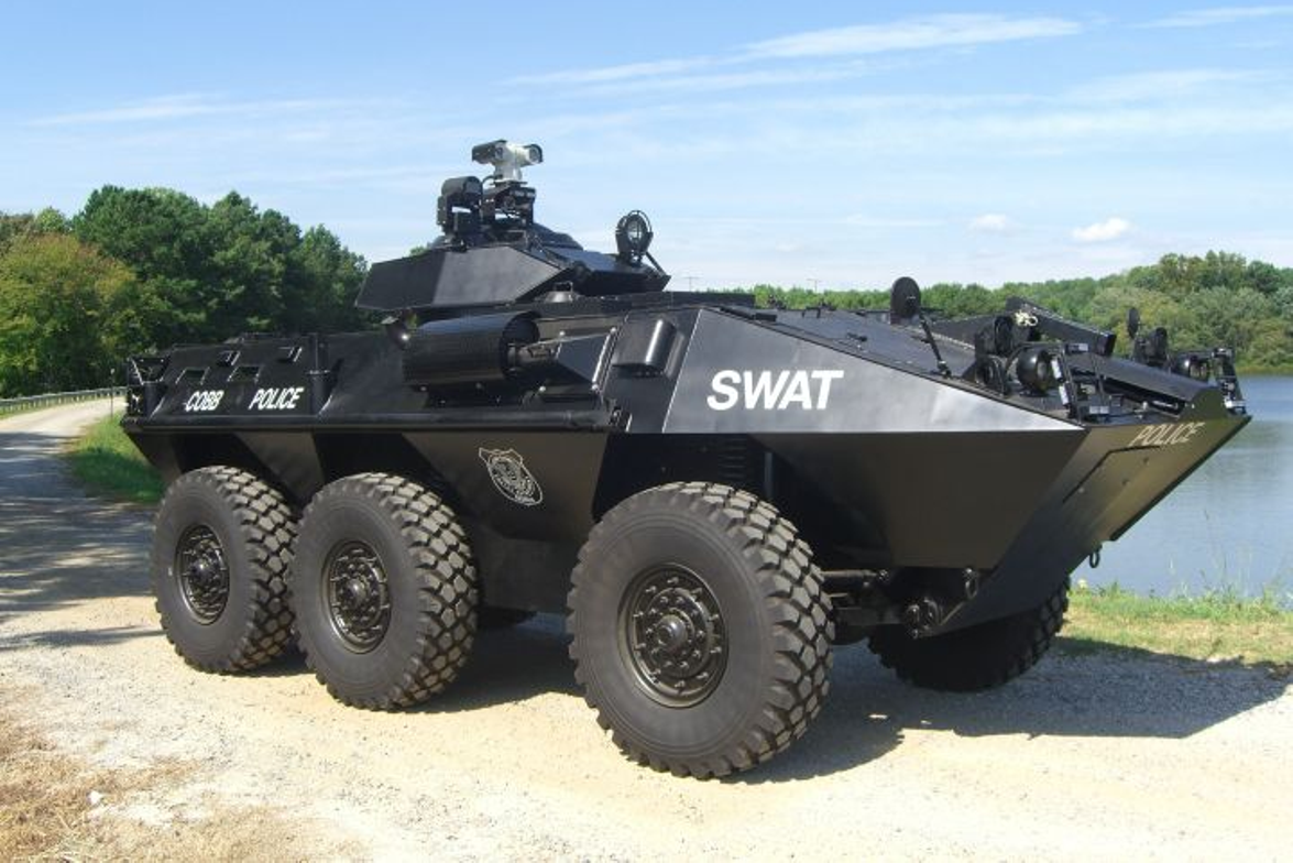 The Cobb County (Ga.) Police Department acquired a Cadillac Gage Textron LAV-300 amphibious...