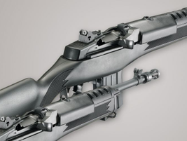 The Ruger Mini-14 uses stainless-steel front and rear sights. Photo courtesy of Ruger.